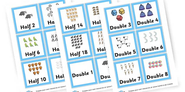 Doubles and Halves - Doubling & Halving Primary Resources, double, half, add, less