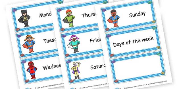 Superhero Days of the Week - Superheroes Days of the Week Primary Resources,  Superheroes, Days