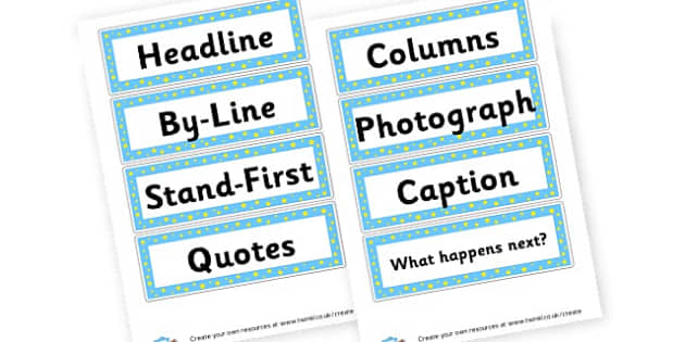 Newspaper Writing Key Features - Newspaper Templates Primary Resources, page borders, frames