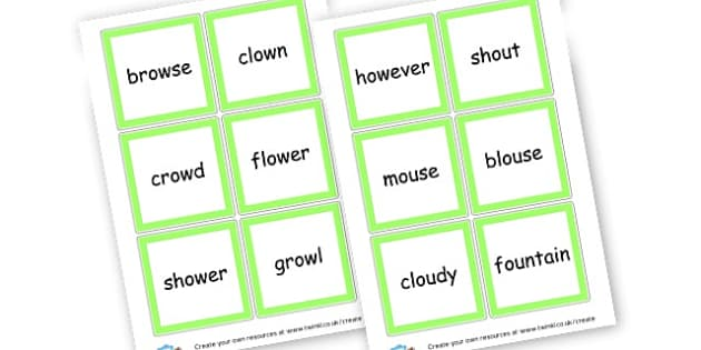 ow and ou Sound Cards - Sound Families Primary Resources, sound, sounds, sound family