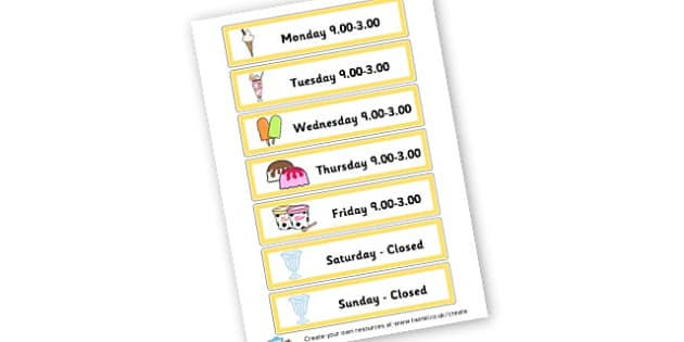 Ice Cream Opening Times - Ice Cream Parlour Primary Resources, shop, parlour, ice cream shop