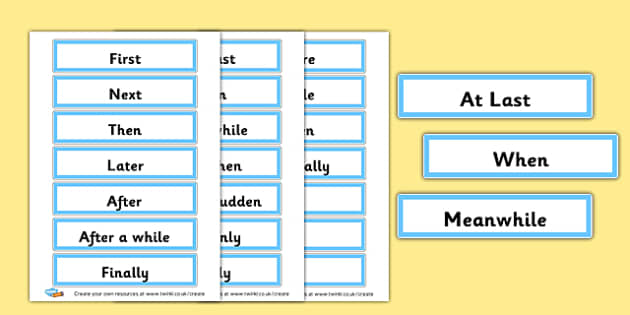 Time Connectives Word Cards - Display Sentence Starters ...