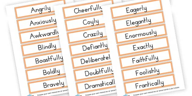 Adverb Openers Cards - Verb Primary Resources, verbs, noun, adjective, wow, keywords