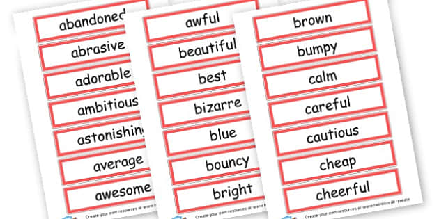 Adjectives Cards - KS2 Adjectives Primary Resources, Adjectives, Word Types, Words