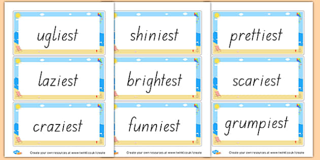 Suffix - est cards - Prefixes and Suffixes Primary Resources, Words and Vocabulary