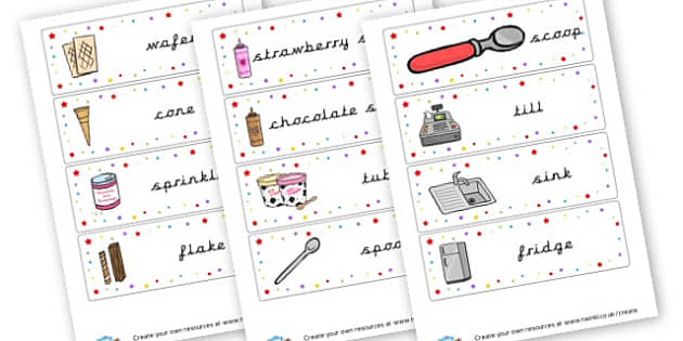 Ice Cream Kiosk Roleplay Labels - Ice Cream Parlour Primary Resources, shop, parlour, ice cream shop