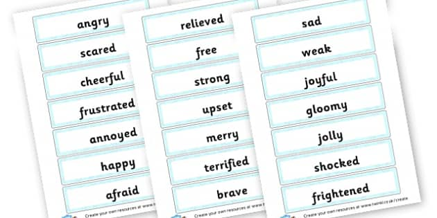 Emotions Word Cards - My Emotions Literacy Primary Resources, emotion, feeling, happy