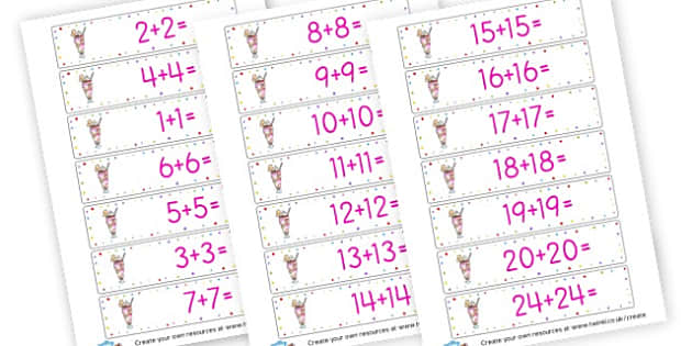 Doubling Number Sentences Cards - Calculation Primary Resources, maths, add, subtract, calculation