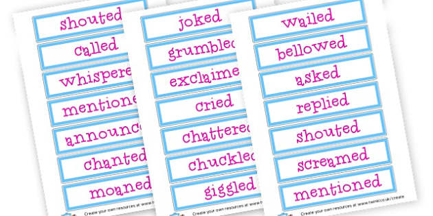 Alternatives to said - Synonyms & Antonyms Primary Resources, similar words