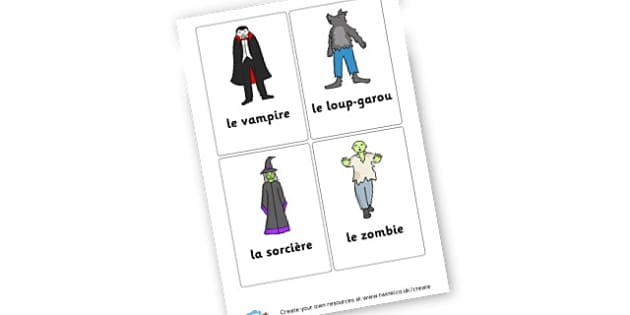 vampire-loup-garou-sorciere-zombie - French Literacy Primary Resources,French,Languages,Literacy,Words
