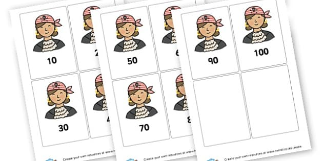 Pirates 10-100 - Pirates Numeracy Primary Resources, pirate, counting, number