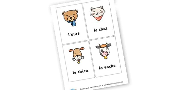 Animals in French - French Literacy Primary Resources,French,Languages,Literacy,Words
