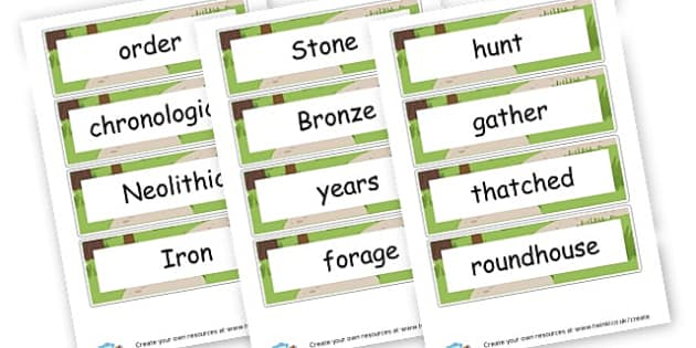 Stone Age to Iron Age Vocab Cards - KS2 The Stone Age History Primary Resources - New Curriculum