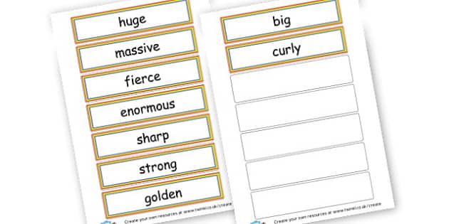 describing words - Adjectives Primary Resources, cll, wow, keywords, describing words