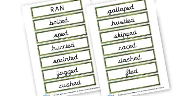 Alternative Words for Ran - Grammar Activity Primary Resources, grammar aids, activities