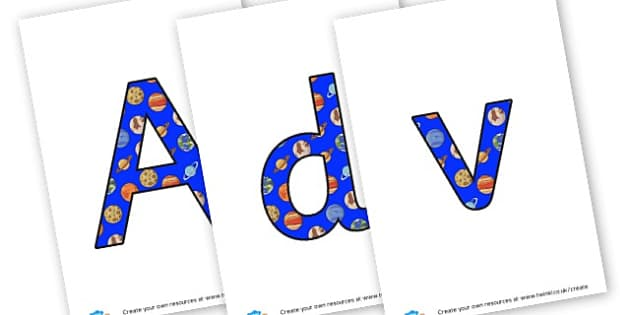 Adventures in Space Lettering - Space Display Primary Resources, Space, planets, Sun, moon, star