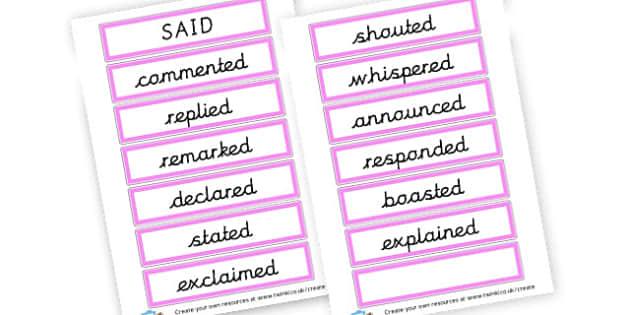 Alternative Words For Said - Grammar Activity Primary Resources, grammar aids, activities