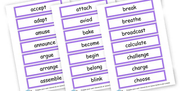 Verbs Word Cards - Verb Primary Resources, verbs, noun, adjective, wow, keywords