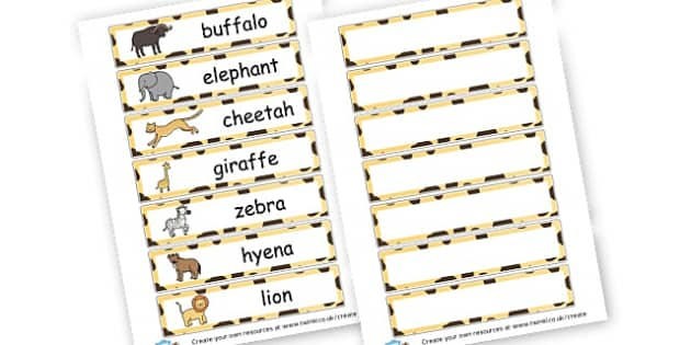 Safari Animals Cards - On Safari Literacy Primary Resources, Safari,  Literacy,  Words