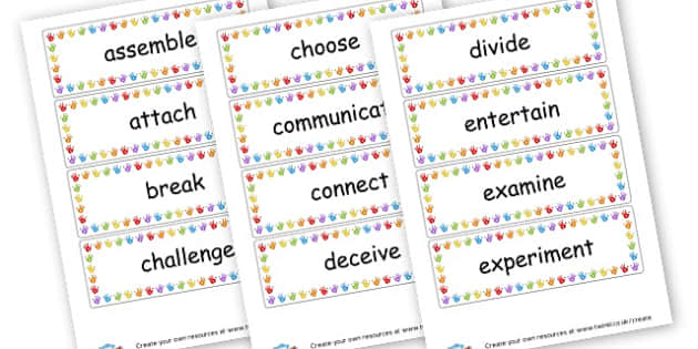 Verbs Cards - Verb Primary Resources, verbs, noun, adjective, wow, keywords