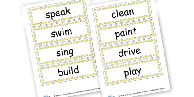 Verb Word Cards - Verb Primary Resources, verbs, noun, adjective, wow, keywords