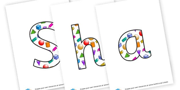shapes - display lettering - 2D Shapes, Display, 2D Shape Primary Resources, spaces, measures,