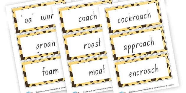 oa Word Cards - Words & Vocab Primary Resources, literacy, keywords, cvc, phonemes