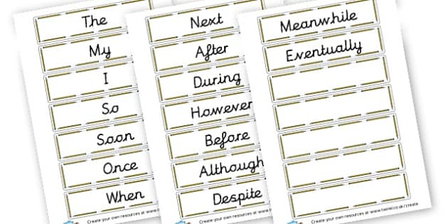 VCOP openers - VCOP Display Primary Resources - Words, Vocabulary, Grammar, Conjunction