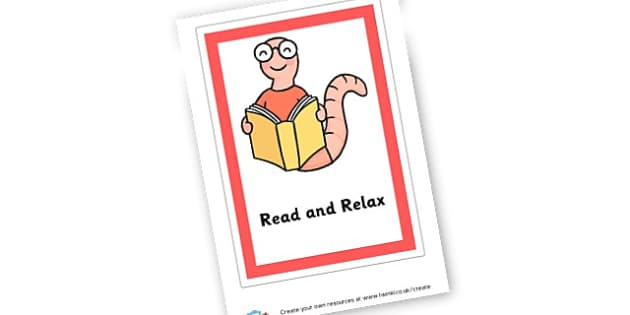 Reading and Relax Sign - Reading Area Primary Resources, signs, area, zones, banner, poster