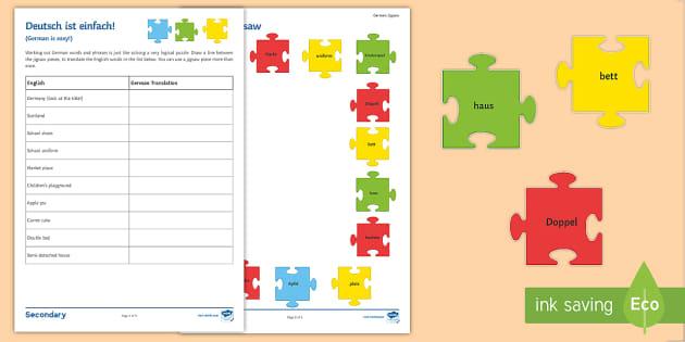 deutsch ist einfach activity sheet german new words puzzle. Black Bedroom Furniture Sets. Home Design Ideas