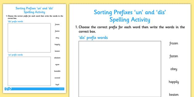 sorting prefixes 39 un 39 and 39 dis 39 activity activities sort. Black Bedroom Furniture Sets. Home Design Ideas