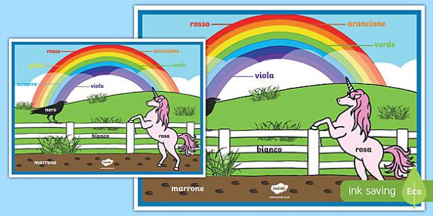 Rainbow Colours Italian A2 Display Poster