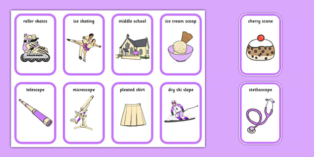 Premise Indicator Words: Word Medial SC SK Playing Cards Three Syllable Words