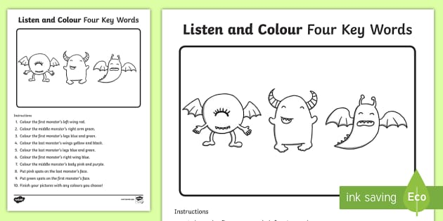 listen and colour 4 key words activity sheet listening. Black Bedroom Furniture Sets. Home Design Ideas