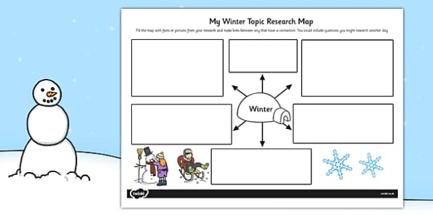 Winter Topic Research Map - research map, winter, topic, map