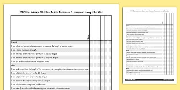 1999 Curriculum 6th Class Maths Measures Assessment Group Checklist - roi, gaeilge, ireland, republic of ireland