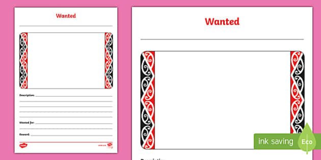 Taniwha Wanted Activity Sheet, worksheet