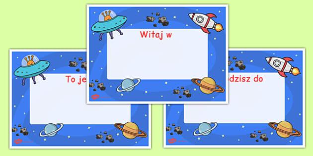 Plakat Witaj w klasie do edytowania Kosmos po polsku - księżyc