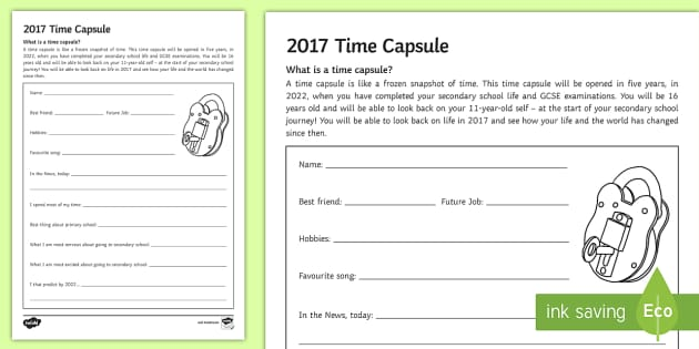 2017 Transition Time Capsule Activity Sheet Secondary – Time Capsule Worksheet