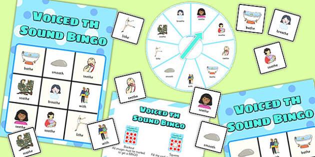 Final Voiced 'th' Sound Spinner Bingo - final th, sound, spinner bingo