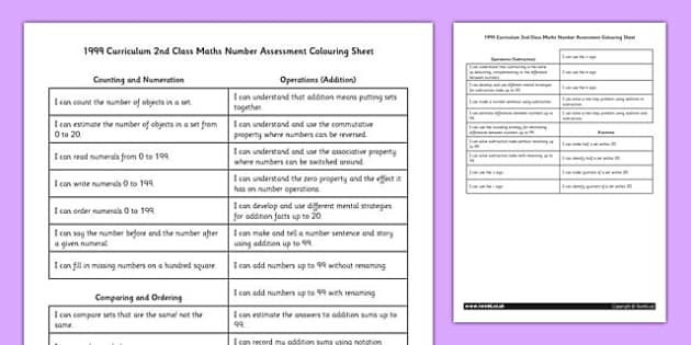 1999 Curriculum 2nd Class Maths Number Assessment Targets Colouring Sheet - roi, irish, republic of ireland