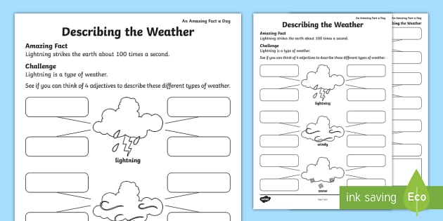 Describing the Weather Activity Sheet - Amazing Fact Of The Day