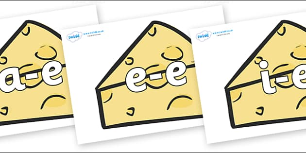 Modifying E Letters on Cheese - Modifying E, letters, modify, Phase 5, Phase five, alternative spellings for phonemes, DfES letters and Sounds