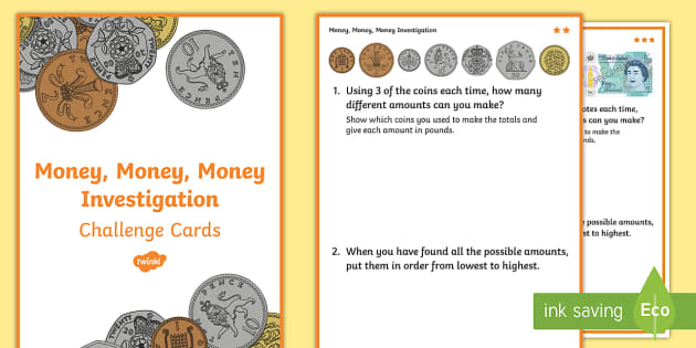 solving problems involving money and decimals challenge cards. Black Bedroom Furniture Sets. Home Design Ideas