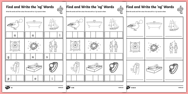 Find and Write the ng Words Differentiated Activity Sheet Pack