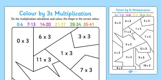 colour by 3s multiplication activity worksheet colour 3s. Black Bedroom Furniture Sets. Home Design Ideas
