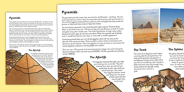 Pulleys Key Stage 2 : The ancient egyptians pyramids information print out