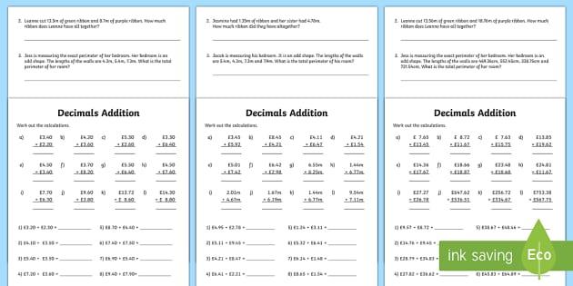 decimals addition activity sheet decimals decimals addition. Black Bedroom Furniture Sets. Home Design Ideas