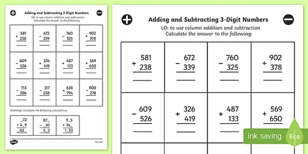 Adding Subtracting 3 Digit Numbers Column Mixed Worksheet