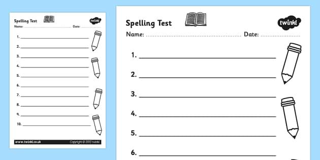spelling test template worksheet spelling test spelling test. Black Bedroom Furniture Sets. Home Design Ideas